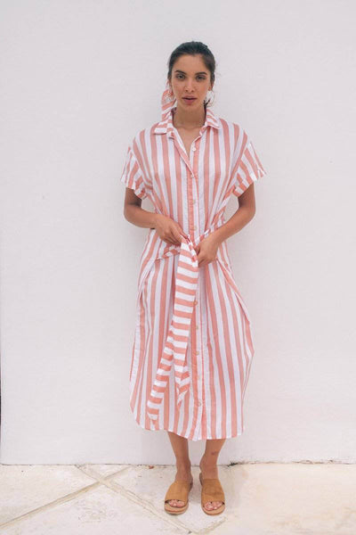 LAURA SHIRT DRESS - Tangerine Stripes - Kevore