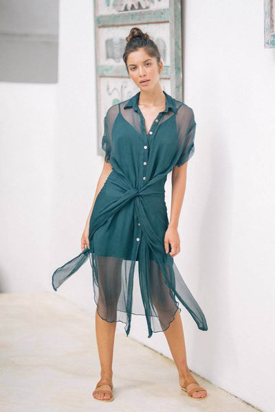 LAURA SHIRT DRESS + SLIP DRESS - Emerald Green - Kevore