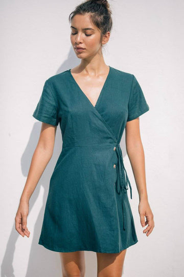 RUE WRAP DRESS - Emerald Green - Kevore