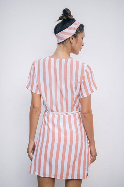 RUE WRAP DRESS - Tangerine Stripes - Kevore