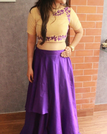 Purple thread embroidered Crop top set