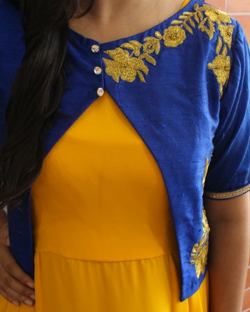 Blue and yellow indo western gown