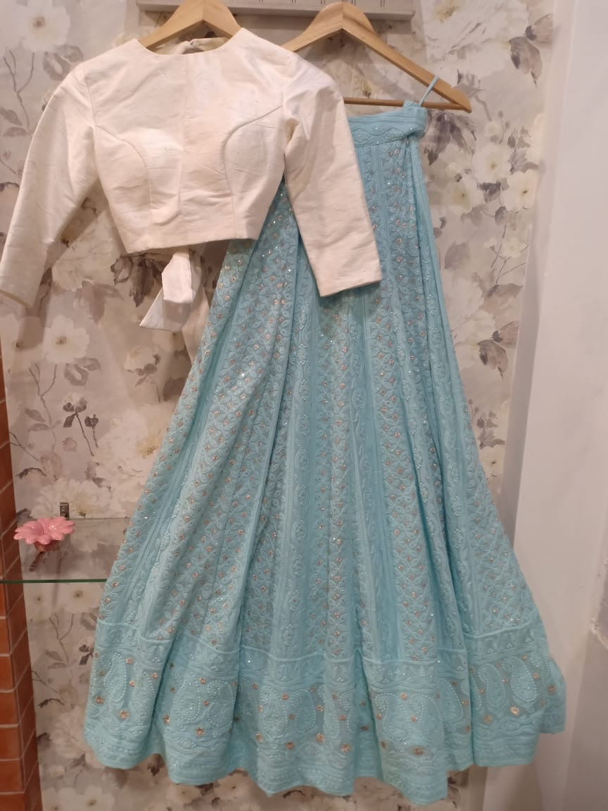 White and Blue Chikankari Lehenga