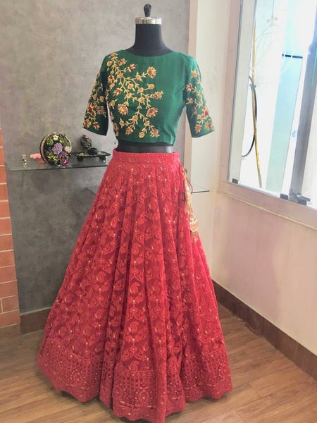 Crimson and Green Chikankari Lehenga