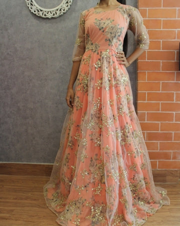 Layered Floral Gown