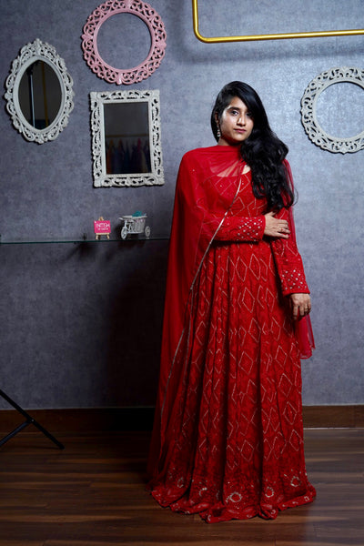 Crimson Chikankari Anarkali Set