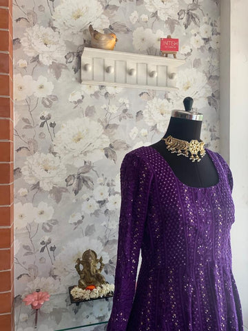 Purple Chikankari Anarkali