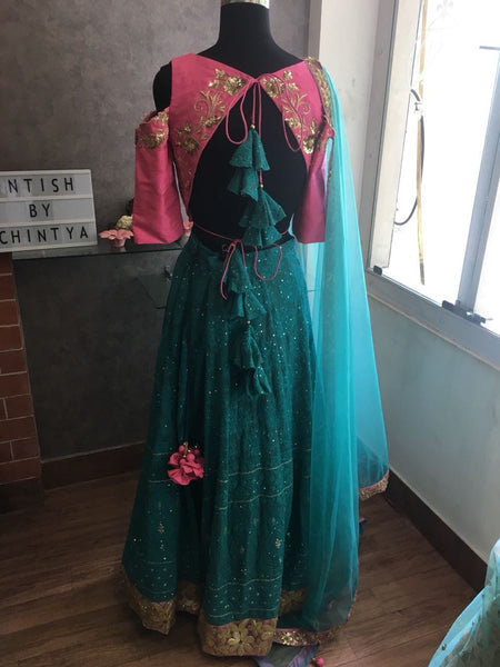 Pink and Teal Chikankari Lehenga