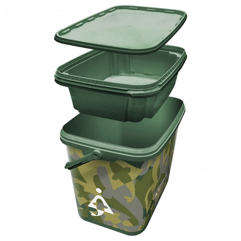 Bait-Tech 8L Square Camo Bucket with Insert Tray - The Creel Gloucester Bait-Tech