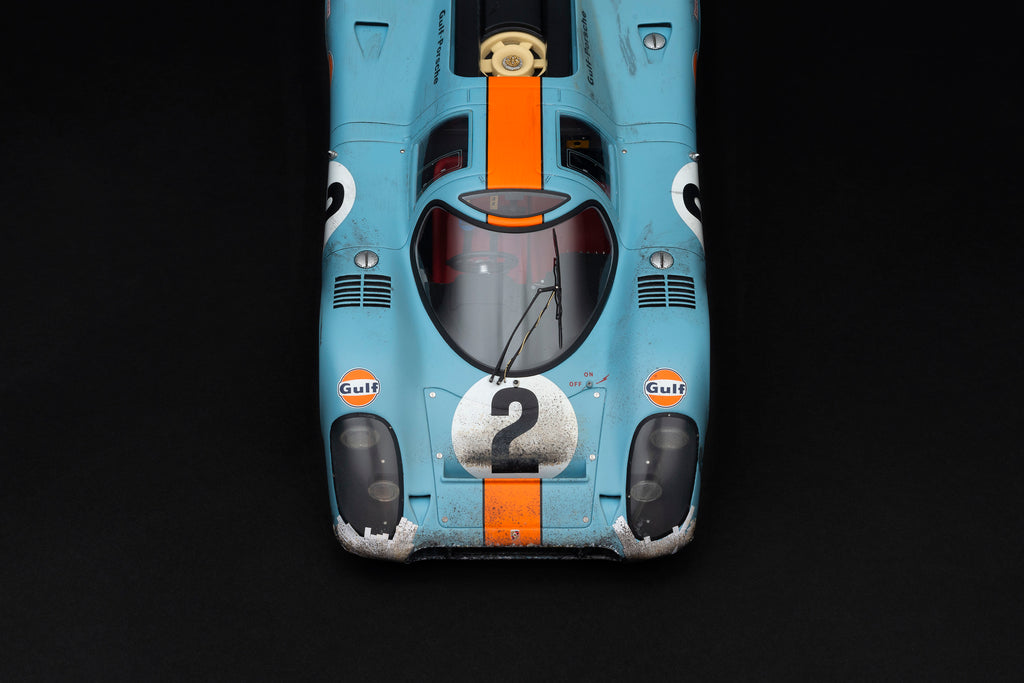 Less than 25 of Amalgam's race weathered 1:18 Porsche 917Ks remain
