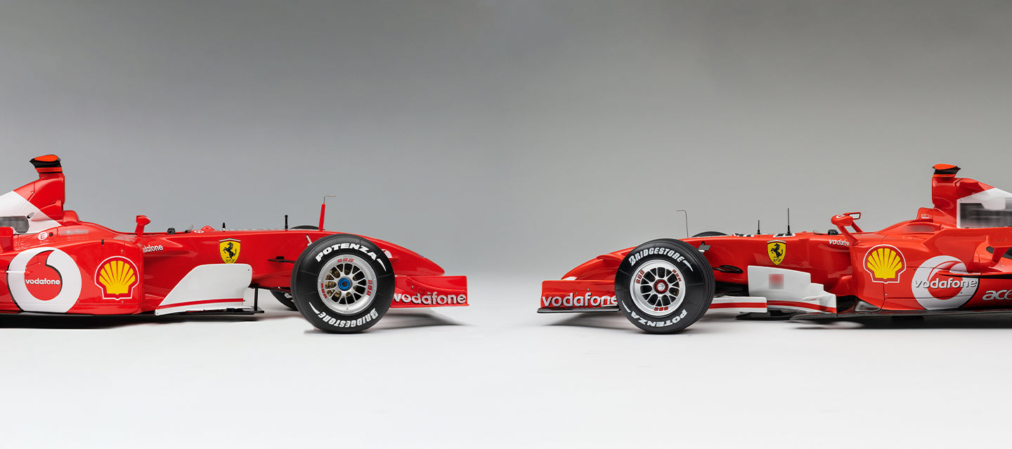Amalgam Collection Ferrari F2002 and Ferrari 248 F1 Formula 1 models at 1:8 scale