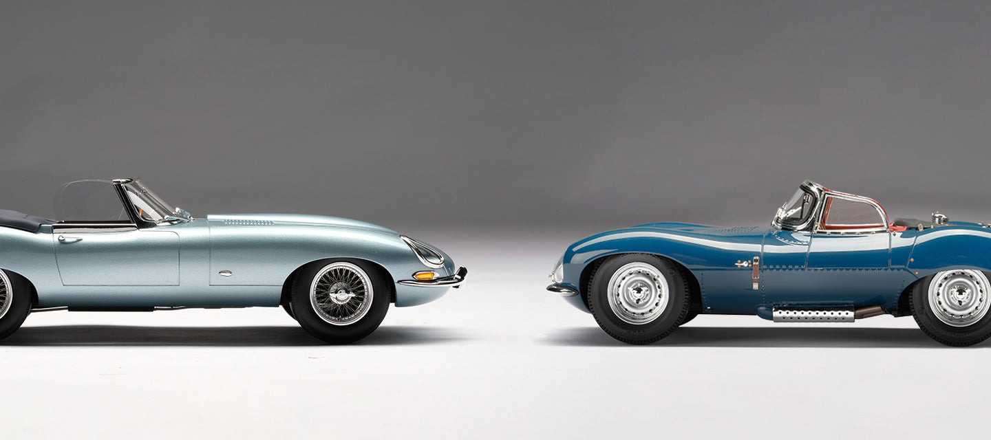 Amalgam Collection Jaguar E-Type Roadster and Jaguar XKSS at 1:18 scale