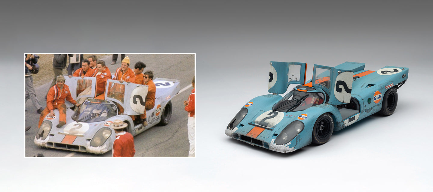 Race-Weathered Porsche 917K as raced at the 24 Hours of Daytona in 1970, replicated at 1:8 scale by Amalgam Collection