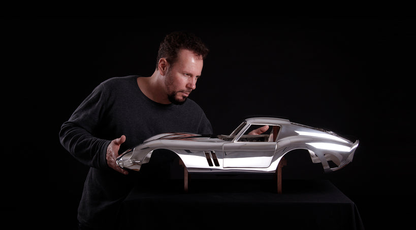 Silver Ferrari 250 GTO Sculpture at 1:5 scale