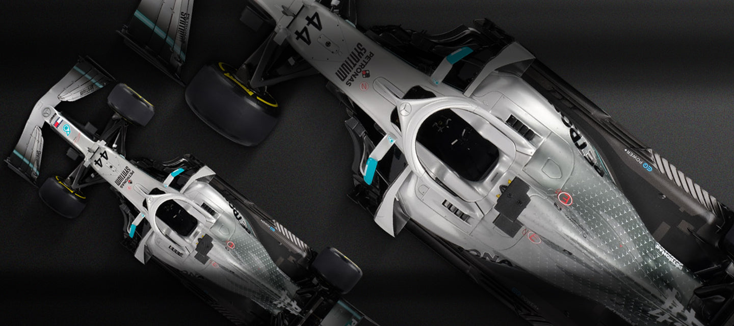 Amalgam Collection Mercedes-AMG F1 W10 EQ POWER+ at 1:8 and 1:18 scales in partnership with Memento Exclusives