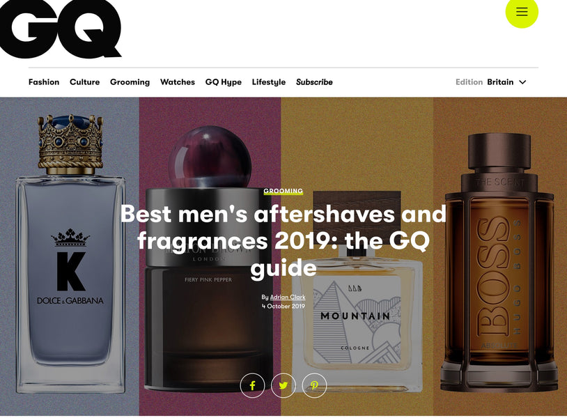 Mountain in Top 10 of GQ Men's Aftershave guide