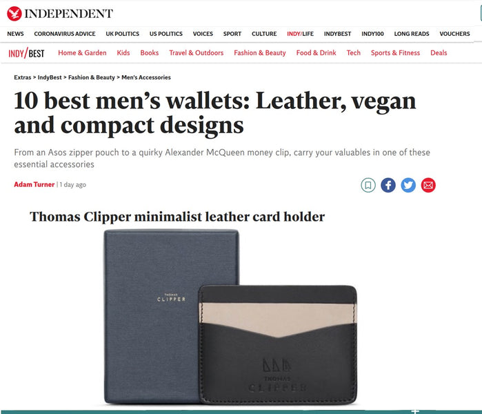The Independent reviews our Minimalist Leather Card Holder