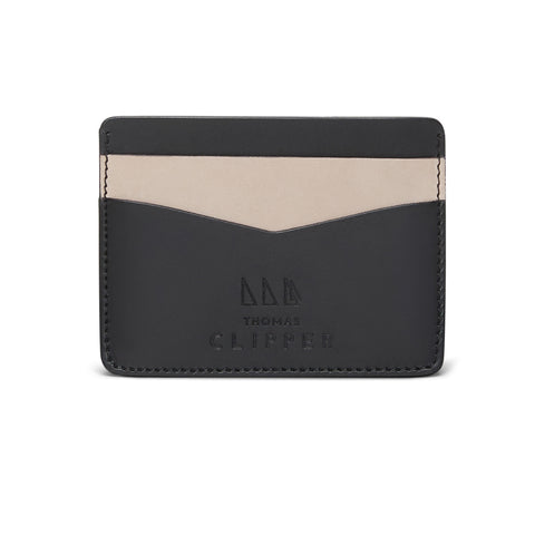 Minimalist Leather Card Holder - Contrast