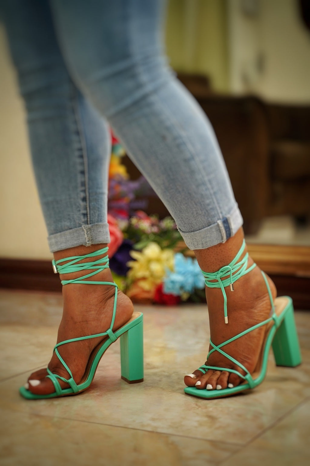 Lace Up Chunky Block Heel