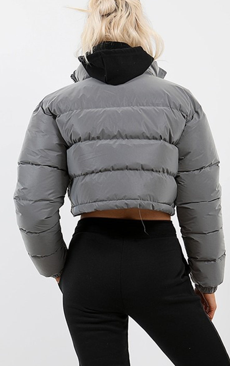 Reflective Cropped Puffer Jacket-Grey