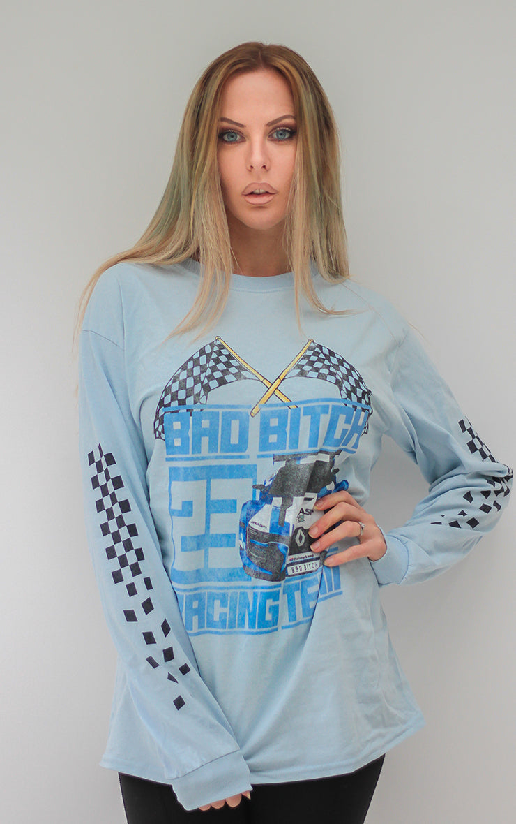 Bad Bitch Racing Team Long Sleeve Sky Blue T-Shirt