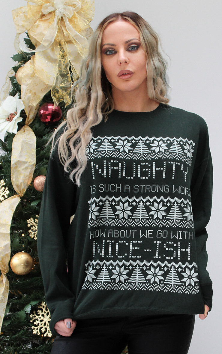 Naughty Is Such a Strong Word Festive 🎅 Sweater ⛄🎄 Black Christmas Jumper