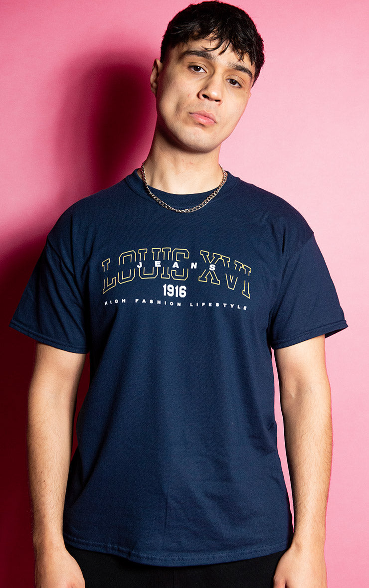 Louis XVI Jeans High Fashion Lifestyle Mens Causal Navy T-Shirt