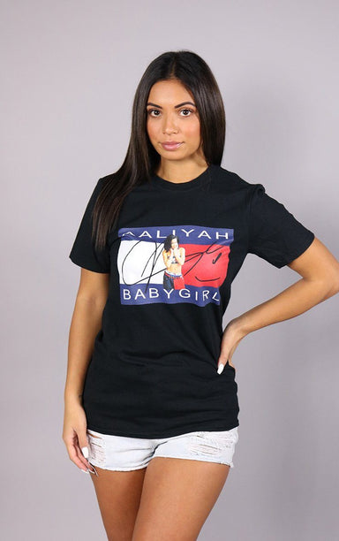 Aaliyah Baby Girl Oversized Black T-Shirt T-Shirt Splashy