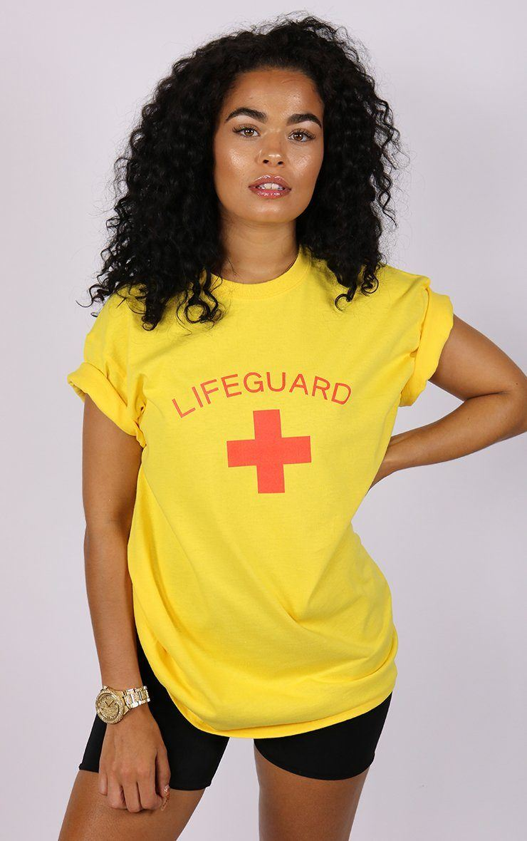 Beach Lifesaver Lifeguard Cross Yellow T-Shirt T-Shirt Splashy