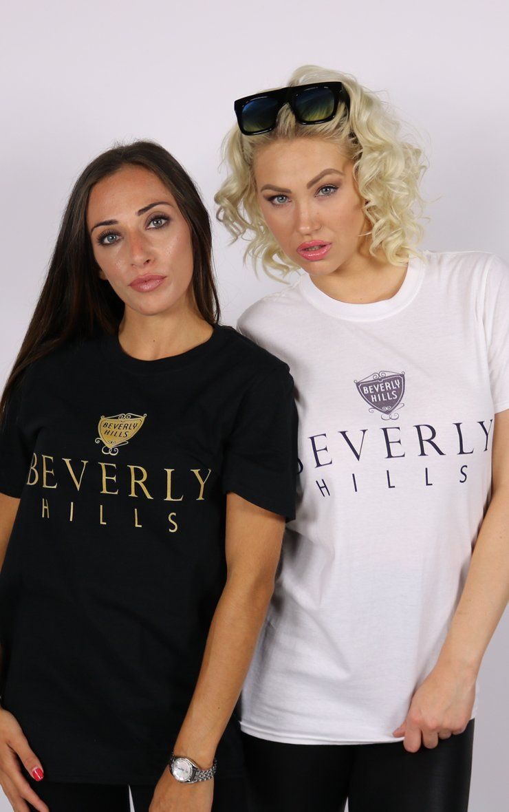 Beverly Hills CA Unisex White T-Shirt T-Shirt Splashy