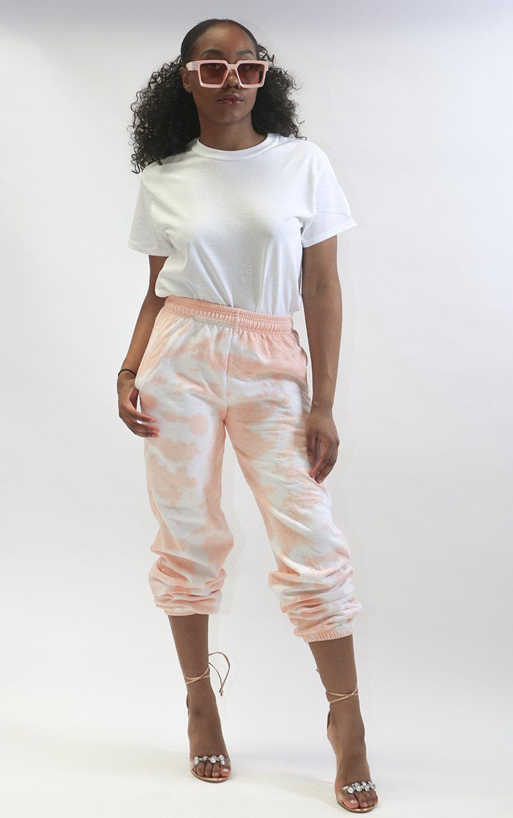 Boyfriend Tie Dye Joggers trousers Splashy M Peach