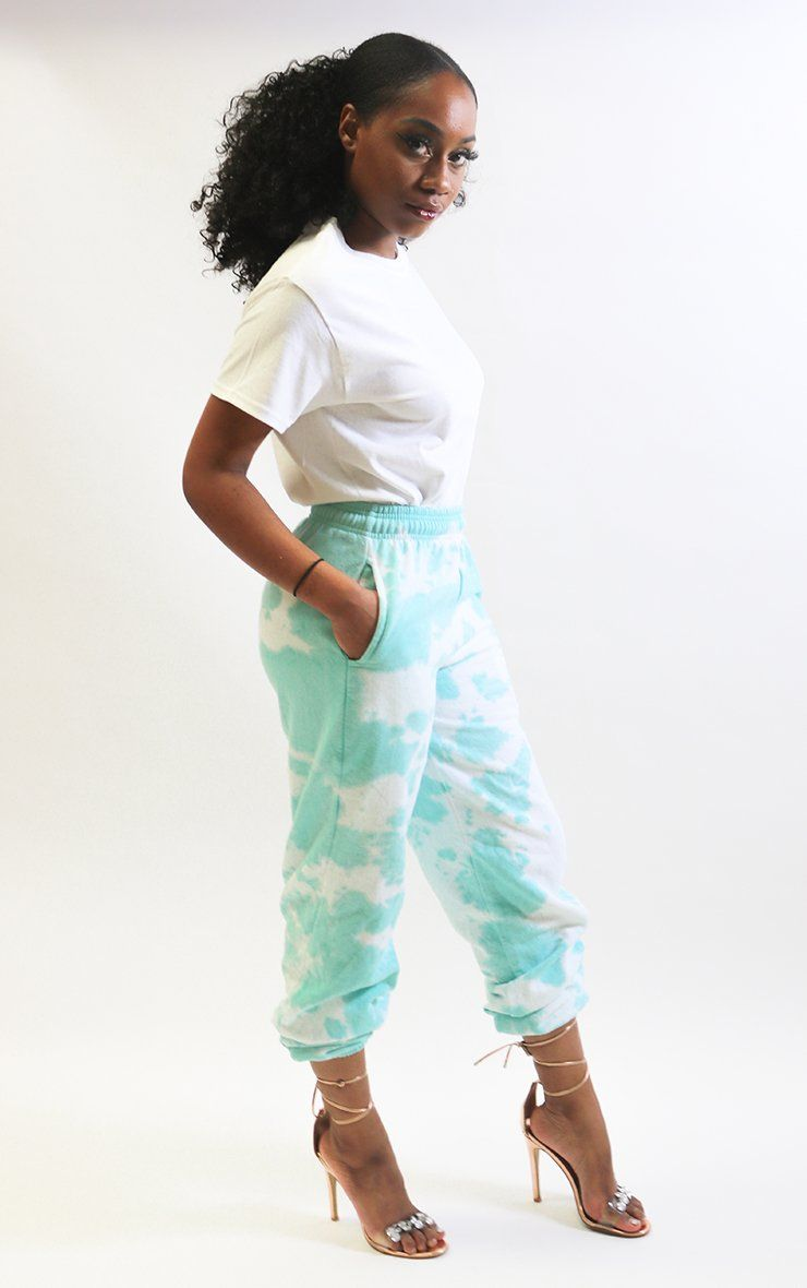 Boyfriend Tie Dye Joggers trousers Splashy XL Tiffany Green