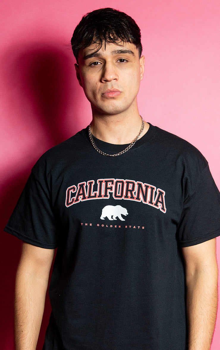 California Bears Mens Causal Black T-Shirt