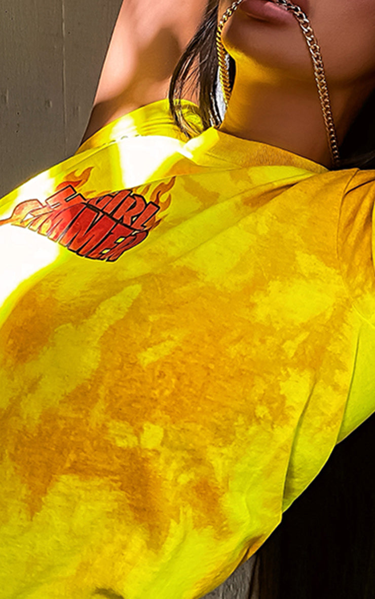 Crystal Lava Hot Girl Summer Neon Yellow Tie Dye T-Shirt