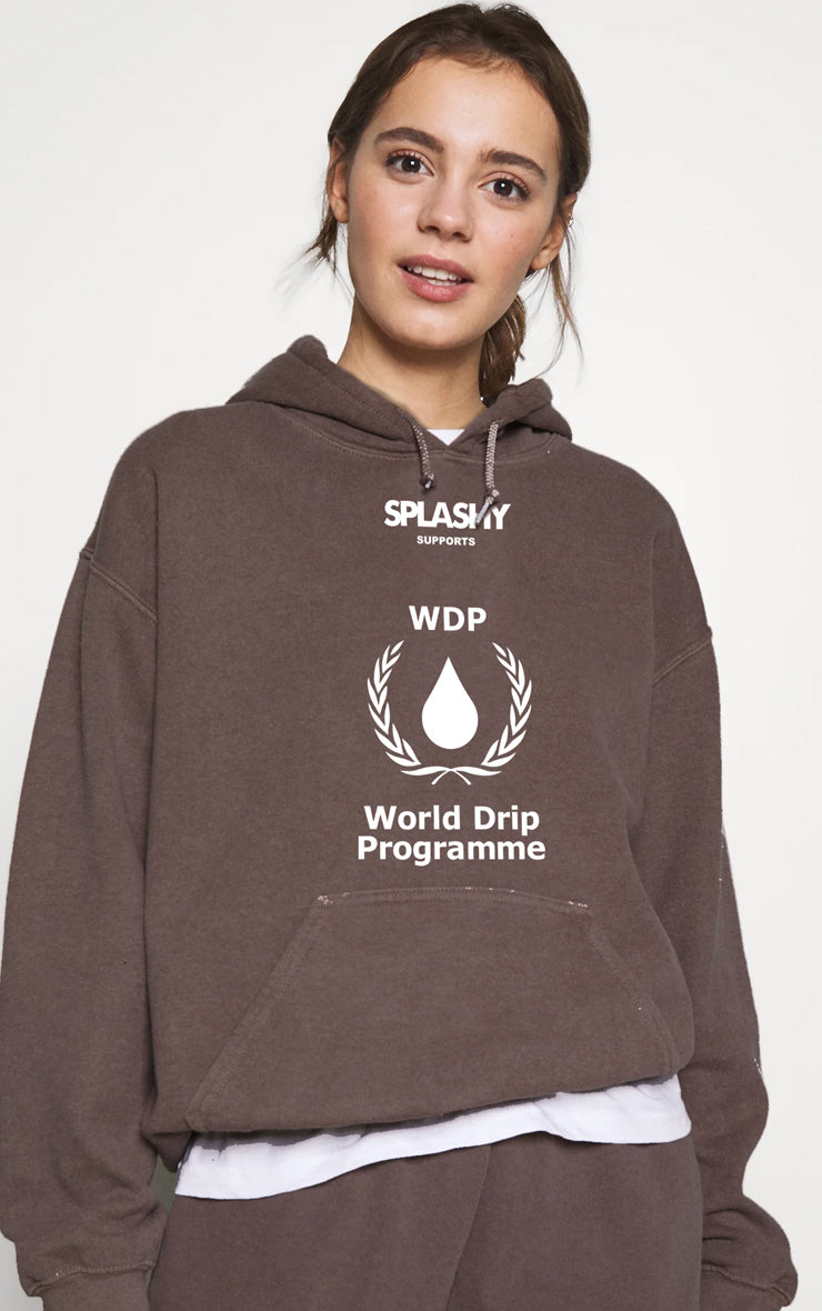 Splashy Supports Word Drip Program Chocolate Hoodie