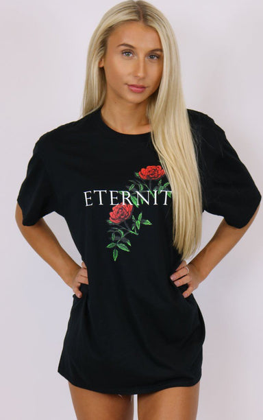 Eternity Rose Graphic Black Tee T-Shirt Splashy