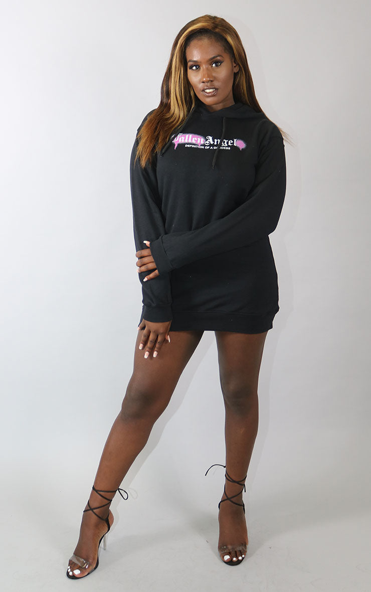 Fallen Angel Definition of a Goddess Black Hoodie Dress