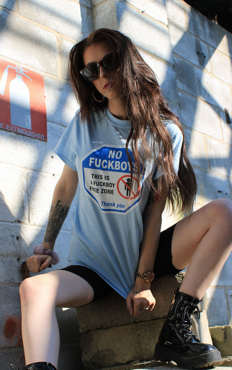 Fu*kboy Free Zone Angel Blue T-Shirt