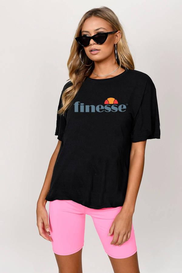 Fitness Funny Finesse Parody Black T-Shirt T-Shirt Splashy