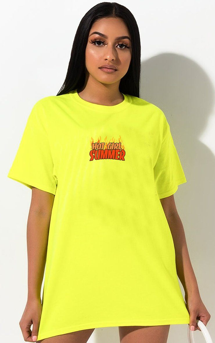 Hot Girl Summer Neon Yellow T-Shirt T-Shirt Splashy