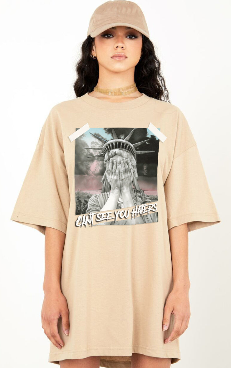 Can't See You Haters Sand Oversized T-Shirt