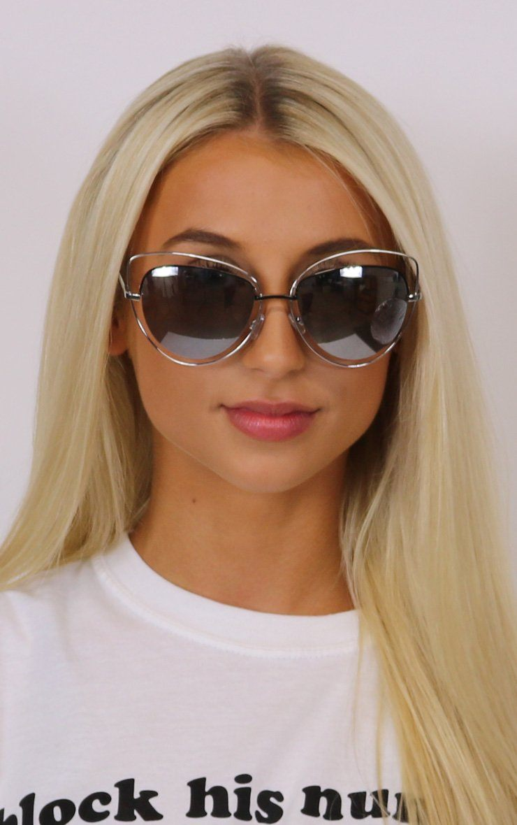 Large Mirrored Sunglasses Silver Framed ACCESSORIES Splashy