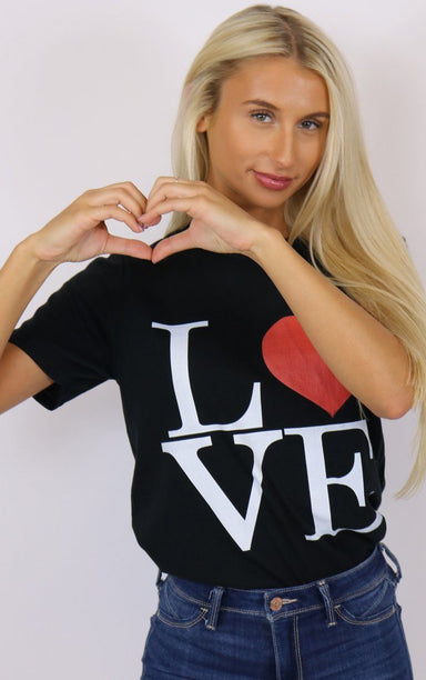 Love Heart Beat Black Graphic Tee T-Shirt Splashy