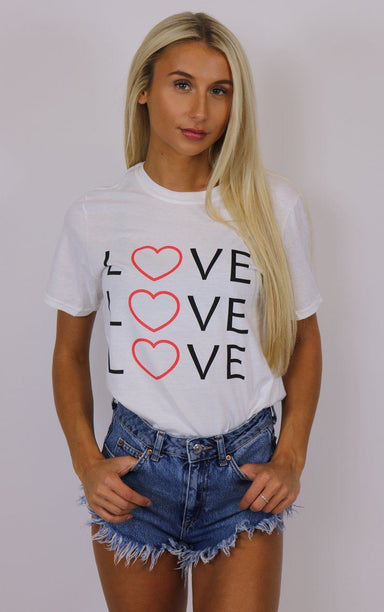 Love Love Love White T-Shirt T-Shirt Splashy