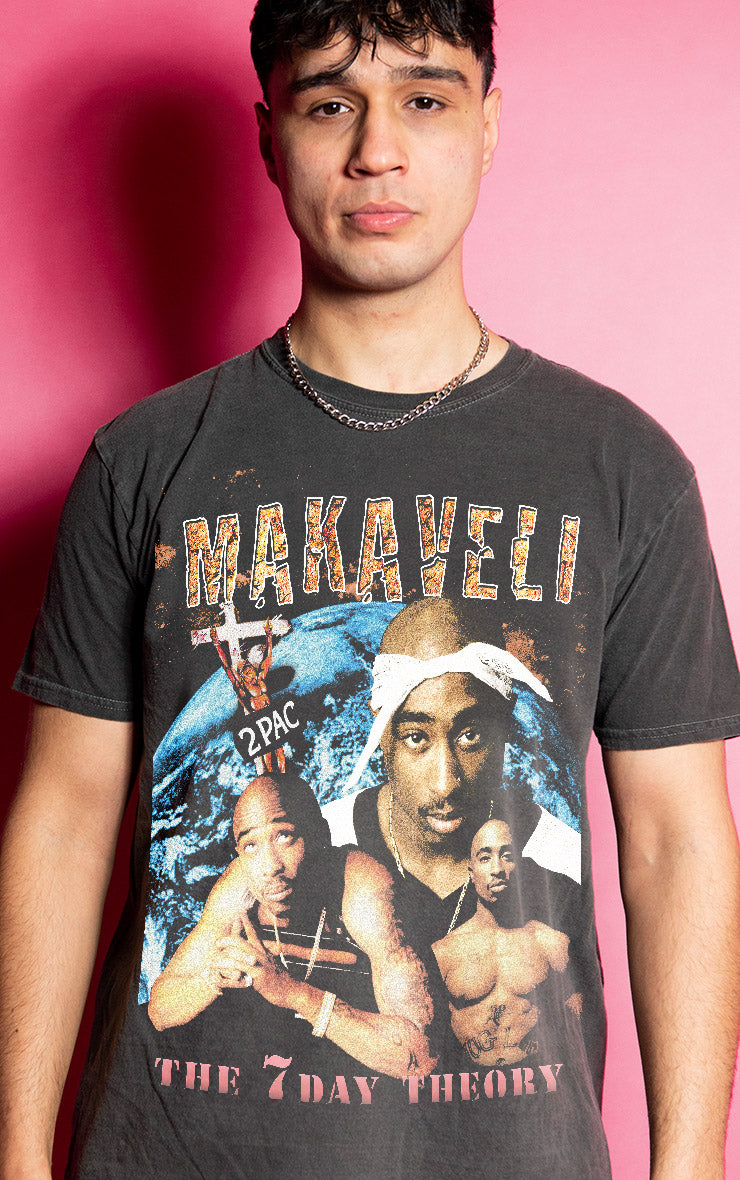 Tupac Shakur Makaveli 7 Day Theory Mens Causal Charcoal T-Shirt