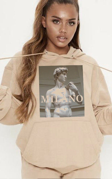 Milano Statue of David Sand Hoodie Hoodie Splashy