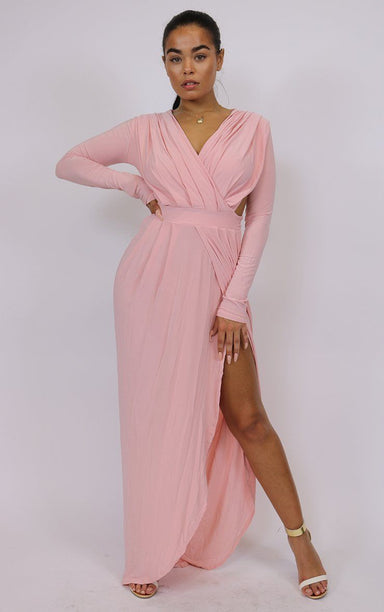 Nude Split Maxi Dress dresses Splashy