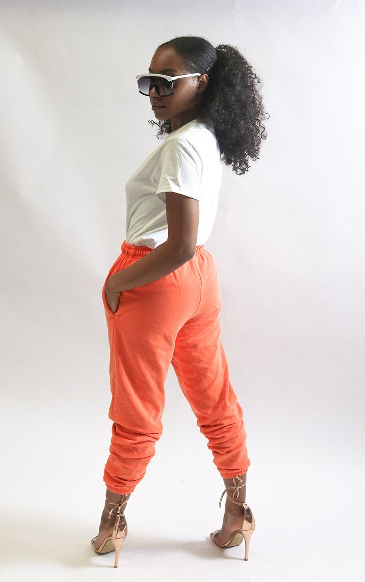 Orange Cuffed Joggers trousers Splashy
