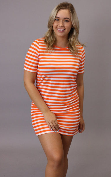 Orange White Beach Stripe Bodycon Dress dresses Splashy