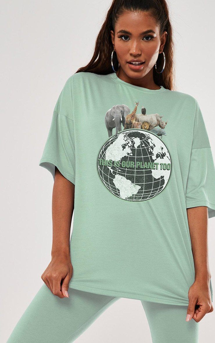 Our Planet Too Save Earth Day Sage T-Shirt T-Shirt Splashy